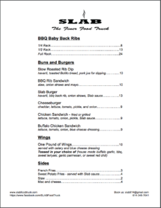 Printable Slab Food Truck Menu 2020